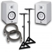 "Yamaha HS8 White Powered Studio 8"" Monitor Pair with Stands and Cables"